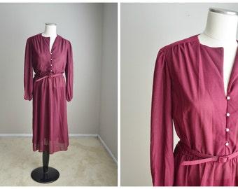 vintage 70s burgundy red twirly dance office dress-- womens medium