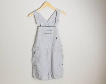 vintage heather gray shortalls -- dungaree shorts -- womens large