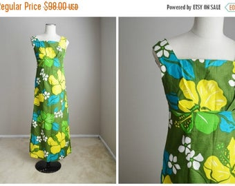 Memorial SALE - 15% off - Vintage 60s Olive Green Blue Yellow Hawaiian Dress with Scarf Wrap Belt // womens xsmall small