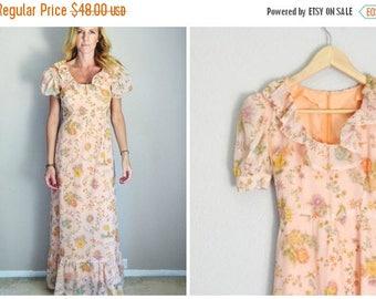 Memorial SALE - 15% off - vintage 70s peach floral long maxi ruffle bohemian prairie lolita dress -- womens xxsmall xs -- 32-26-38
