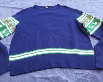 Vintage Men's Obermeyer Ski Sweater with Reindeer sz Xl