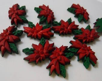 12 Dark Red and Green Poinsettia Flat Back Buttons