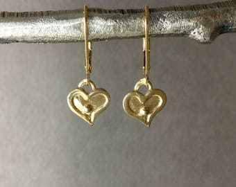 Tiny gold vermeil heart earrings, 14kt gold filled lever back ear wire, minimalist everyday jewelry E311