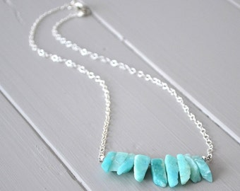 Amazonite Necklace, Crystal Point Necklace, Raw Stone Necklace, Crystal Bib Necklace, Blue Gemstone Necklace