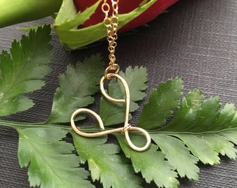 Minimal Heart Necklace, Simple Gold Necklace, Gold Heart Jewelry, Gold Filled Necklace, Anniversary Gift, Simple Gold Necklace