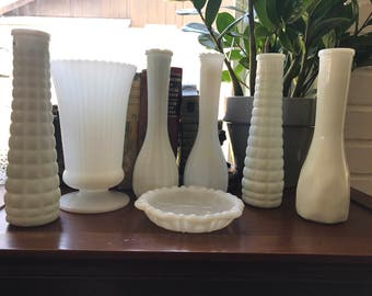 Beautiful Vintage Milk Glass Assortment Bud Vases and Vase for Wedding or Home Decor