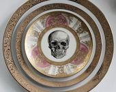 GORGEOUS 3-Piece Pink and Gold Skull Plate Set, Skull Dinnerware Set, Skeleton Till Death Plates, Halloween Plates, Skull China, Upcycled