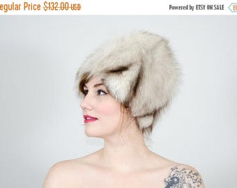 25% OFF SALE / 1960s vintage hat / blue fox fur hat / fur cloche
