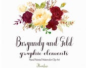 Burgundy and Gold watercolor clipart,burgundy flower clipart,marsala and gold rose clipart,wedding invitation,gold peony clipart,yellow rose