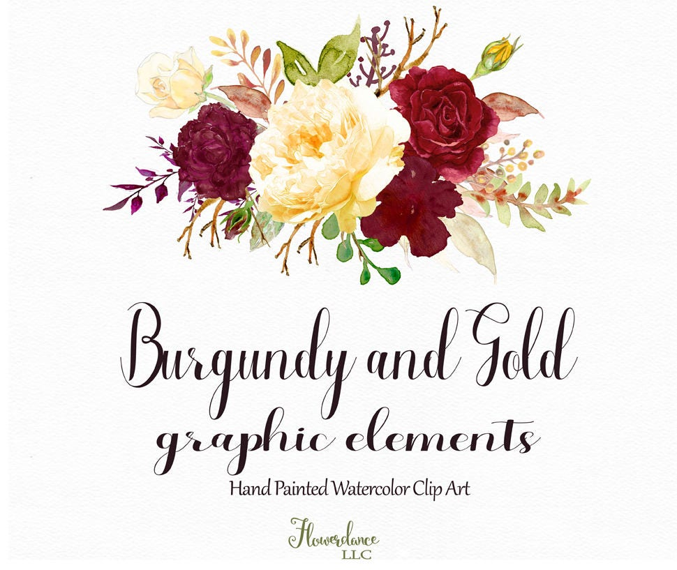 Burgundy and Gold watercolor clipart,burgundy flower ...