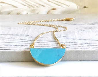 Simple Turquoise Half Moon Necklace.  Everyday Turquoise Necklace. Dainty Gold Necklace. Layering Necklace. Jewerly Gift for Her. Crescent.