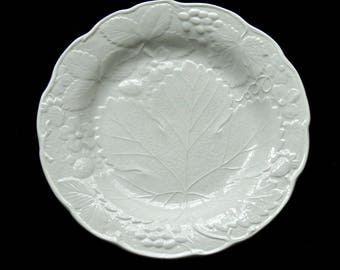"Six Vintage Burleigh Davenport White Grape Leaf Staffordshire Salad or Dessert Plates - 8"" - Vintage Fine China Made in England"