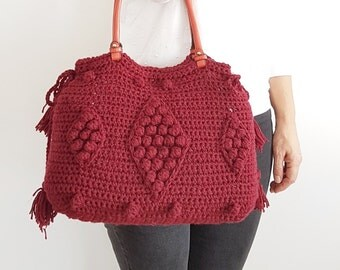 Burgundy Bag Burgundy Tote Leather Tote Handmade Bag Unique Bag Designer Christmas gift Burgundy Shoulder Bag Camel Purse Crochet Handbag