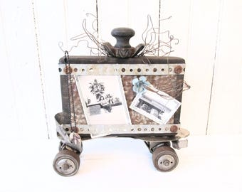 Assemblage Art Salvage Photo Holder on Vintage Roller Skate with Wood Block - Metal Flower - Rusty Tin and Wire