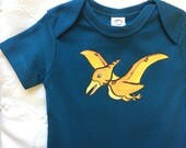 Pterodactyl baby tee, Organic baby clothes Hand Painted Bodysuit /beach baby/blue baby bodysuit with snaps