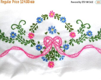 ON SALE Vintage Pillowcases 2 Embroidered Flowers and Bow STANDARD size Retro Cottage Chic Hand Made 60s Great Gift Pink Blue Green Nos