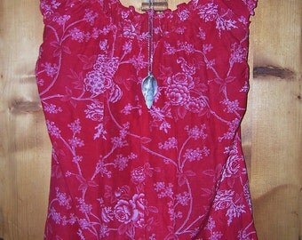 Boho Floral Print Cranberry Red Peasant Top