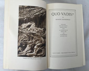 Vintage Large Hardcover Copy of Quo Vadis by Henryk Sienkiewicz, Historical Fiction