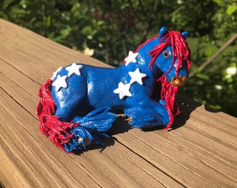 Red white and blue gypsy Vanner  polymer clay
