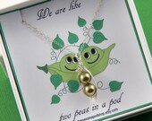 Christmas Sale Two Green Peas In A Pod Gift Box With A Sterling Silver Necklace Friendship Necklace, Sisters Shower Gift Choose Your Colors