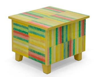 Coffee table with storage - coloured pencil stripes - yellow
