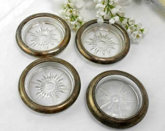 Vintage glass coasters sterling silver rim coasters silver rim ash trays tobacciana barware drink coasters vintage condiment dishes set of 4