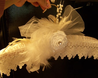 White bridal hanger, satin hanger, lace and feathers hanger