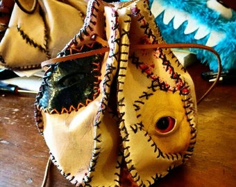 Bag of Many Skins - Creepy Leather Dice Bag