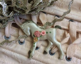Dear White Pony Celluloid Pin Brooch I Love You