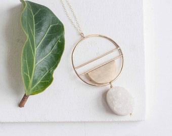 Druzy + Geometric Pendant Necklace | 14k Gold Fill + Brass