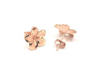 Rose Gold Earrings, Plumeria Earrings, Hawaiian Earrings, Hawaiian Jewelry, Plumeria Flower, Plumeria Jewelry, Rose gold Earrings Stud