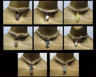 Wholesale - 8 Stone drops on hemp choker necklaces. Bulk lot! NLOT-017
