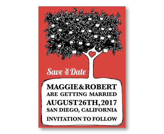 Apple Tree Save The Date Cards, Apple Wedding Invitations, Custom Printed with Envelopes, 20 Pieces Per Order