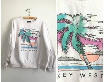 1980s Key West palm white cotton sweatshirt L