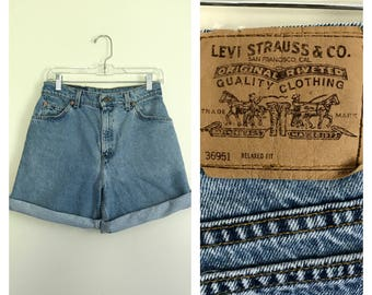 "vintage blue denim high waisted Levis shorts 28"" / size 8"
