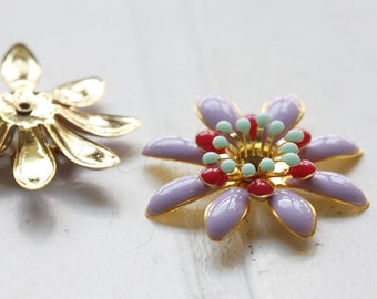 1 Piece / Flower / Brass Base / Enamel
