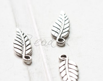 40pcs / Leaf / Oxidized Silver Ton / Base Metal / Charm (Y154//A29)