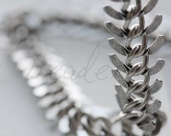 One Foot / Antique Silver Plated / Real Silver / Fish Bone Chain / Chain (CP110)