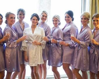 30% Off SALE - Solid Bridesmaid Robes - Bridesmaid robes - Satin Robe - Kimono Robe - Bridesmaid Gifts