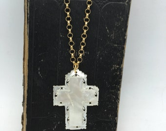 Cross Necklace vintage mother of pearl cross religious faith extra long necklace Bethlehem