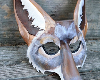 Leather Coyote Mask Made to Order Great for Halloween Burning Man Masquerade Costume LARP Cosplay Mardi Gras Festival