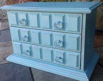 Jewelry Box/ Handpainted/ Shabby Chic/ Cottage Chic/ Vintage Wine/ OOAK/ Bridesmaid Gift