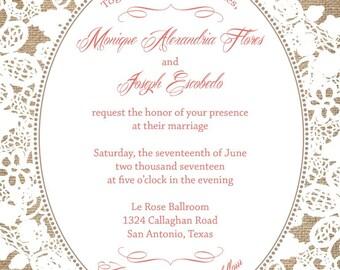 Burlap and Lace Wedding Invitations, Rustic Summer Wedding, Custom Wedding Invitation Listing for monique flores