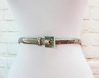 "Vintage 80s Pewter Metallic Silver Snakeskin Skinny Thin Belt Leather 27-31"" S M L"