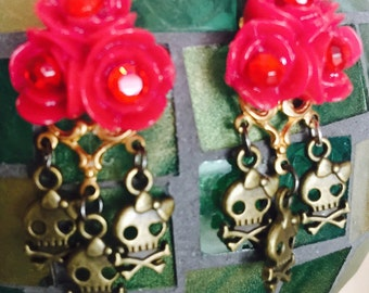 Lady PIRATE  - Goth Girl and Red ROSE  EARRINGS