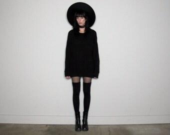 BLACK Textured Knit 90s SWEATER Minimal Goth Womens Vintage Size L