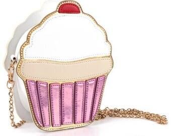 Cupcake Cutie Novelty Purse, Cupcake Shoulder Bag, Gold Shoulder Strap, Novelty Purse, Cupcake Purse