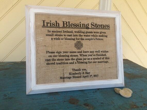 Irish Blessing Stones Sign Wedding Burlap Decor Celtic