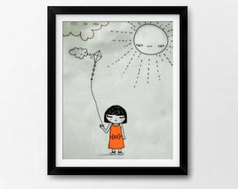 Kids Art Printable, Springtime Kawaii Girl, Baby Nursery Instant Download Illustration by Sleepy Cloud Studios