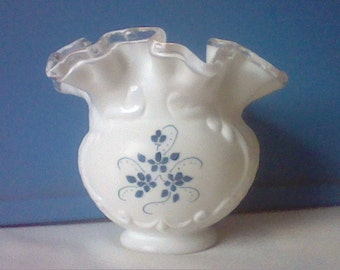 Vintage Fenton Silver Crest white milk glass small ruffled edges vase with hand painted blue flowers by L Everson